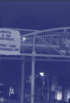 Image posted by Patriot Front of banner on UTSA campus.