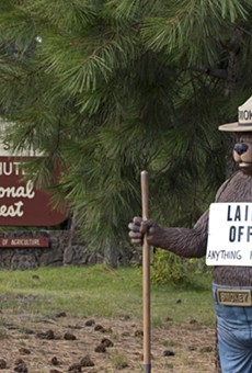 "Smokey the Bear with a ""Laid Off"" sign during the 2013 government shutdown."
