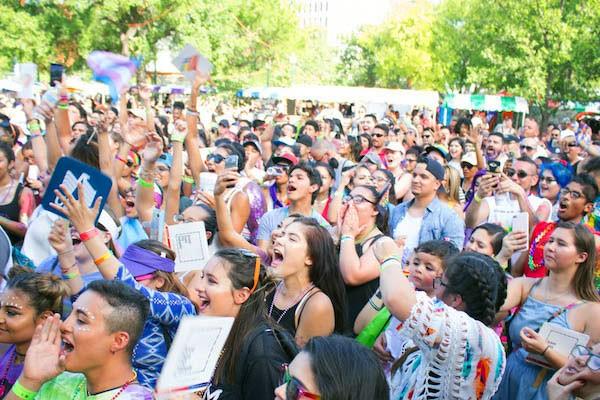 Festival goers cheered on performers at last year's Pride Bigger Than Texas Festival in Crockett Park. - JULIAN LEDEZMA