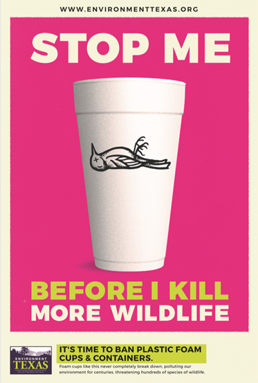 A poster for Environment Texas' anti-polystyrene campaign.