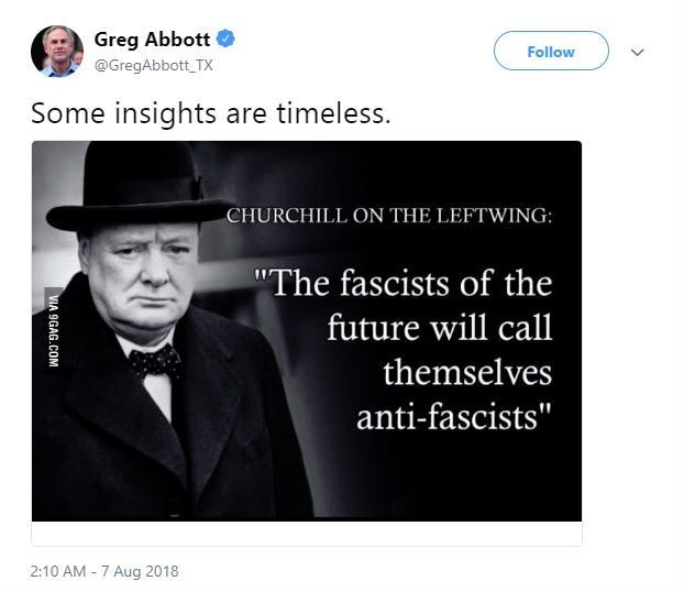 oops greg abbott shares meme with fake churchill quote to make the liberals cry the daily oops greg abbott shares meme with fake