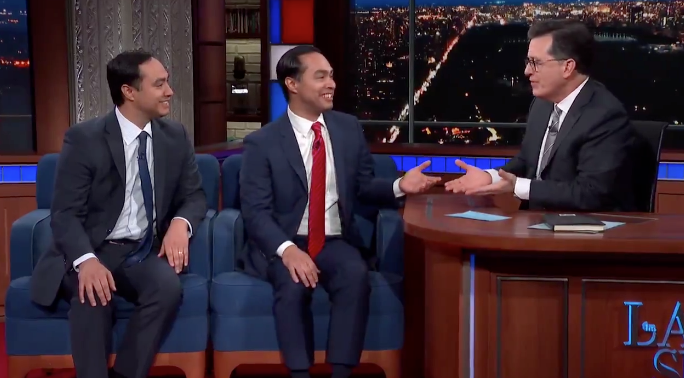 Los Hermanos Castro during their recent appearance with Stephen Colbert. - TWITTER / COLBERTLATESHOW