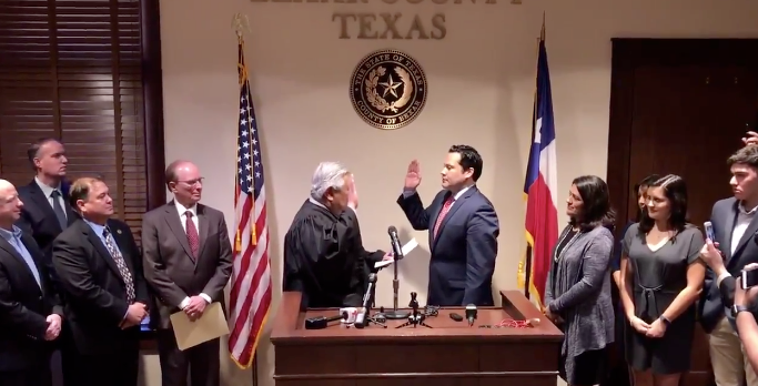 Justin Rodriguez is sworn in as Bexar County Commissioner. - BEXAR COUNTY PHOTO