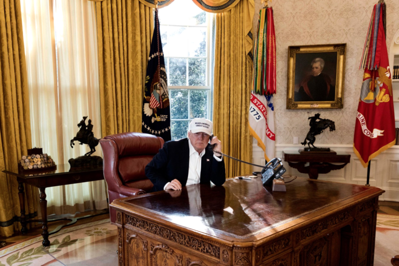 "Donald Trump is shown ""working"" as hard as a furloughed employee in this White House publicity photo. - COURTESY OF THE WHITE HOUSE"
