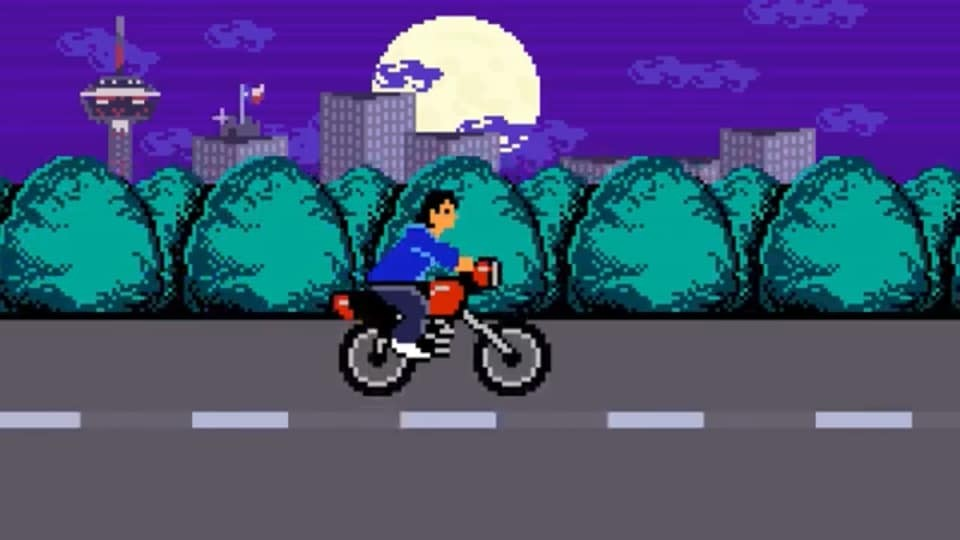 8-bit Rene Villanueva rides his motorcycle on 281. - FACEBOOK / IDYLL GREEN