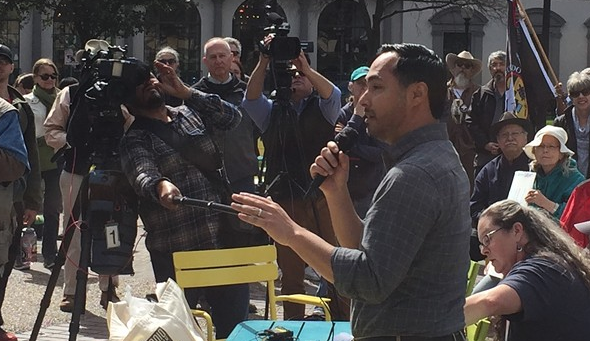 Newly bearded Joaquin Castro speaks to a crowd at a recent immigration rally in San Antonio. - SANFORD NOWLIN
