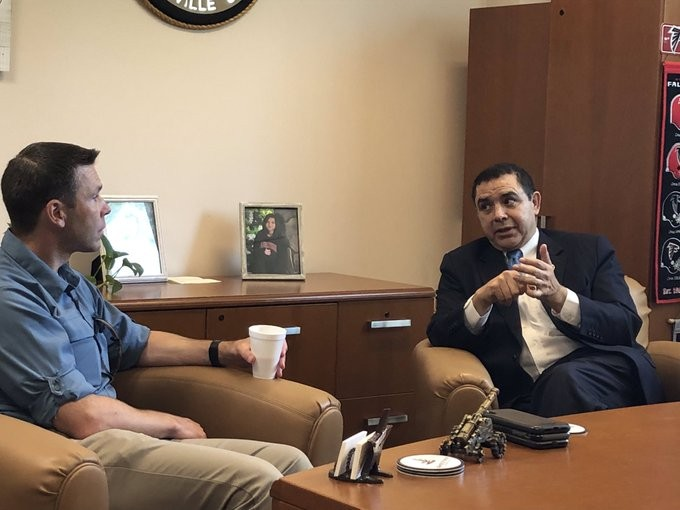 Henry Cuellar, right, makes a point during a meeting with Kevin McAleenan, acting secretary of the Department of Homeland Security. - TWITTER / @RECUELLAR