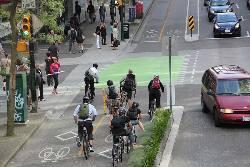 Protected bike lanes, such as these in Vancouver, include a median to keep cars out. - WIKIMEDIA