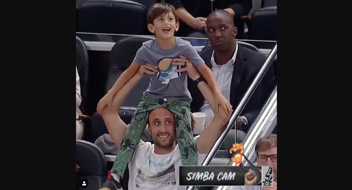 Manu Ginobili and Son Share Cute Moment During Latest Spurs Game
