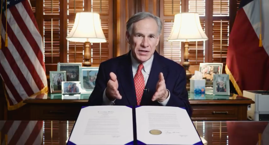 Gov. Greg Abbott's had plenty of screen time during the COVID-19 crisis, but a new study ranks Texas near the bottom when it comes to addressing the outbreak. - YOUTUBE / GOV. GREG ABBOTT
