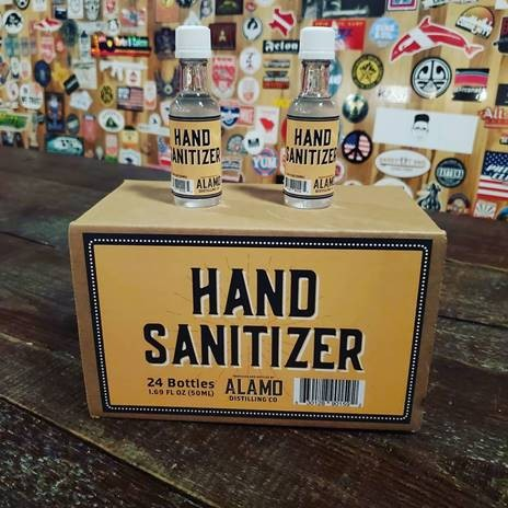 Local distributors are selling Alamo Distilling sanitizer to stores and local businesses, prioritizing medical and service-priority businesses. - INSTAGRAM / @BROADWAY5050