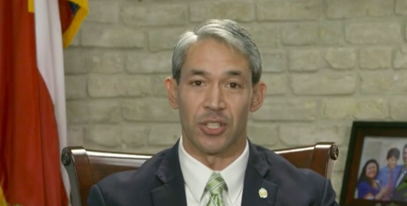 Mayor Ron Nirenberg delivers a televised address from his office. - CITY OF SAN ANTONIO / SCREEN CAPTURE