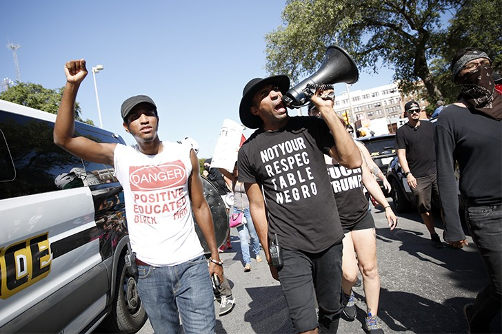 Protestors and counter-protesters converged on San Antonio's Travis Park in the summer of 2017 when the city opted to remove a Confederate statue from its center. - TOMAS GONZALEZ