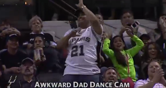 We're sure there is no shortage of awkward Spurs dads in the Alamo City — and probably across the country, too. - SAN ANTONIO SPURS TWITTER