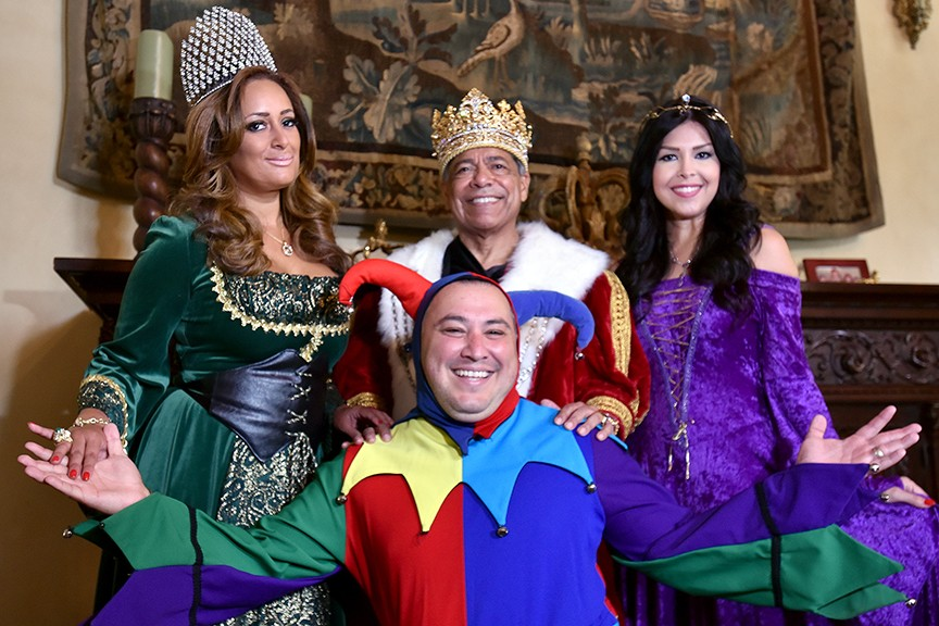 QUEEN KAREN GRACE, KING HENRY GARCÍA, PRINCESS LUISA RIOJAS AND JESTER CLETO RODRÍGUEZ PHOTOGRAPHED BY R.C. FRENCH