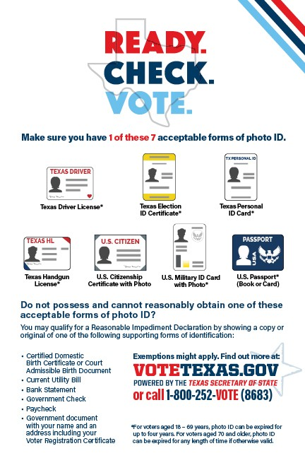 A graphic summarizing the required identification for voting in-person in Texas. - TEXAS SECRETARY OF STATE