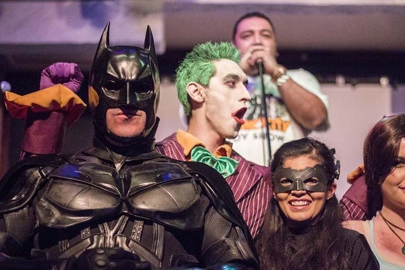 Alamo City Comic Con founder Apple de la Fuente addresses the audience behind a group of San Antonio Cosplayers during the ACCC Thank You party in early 2014. - RICK CANFIELD