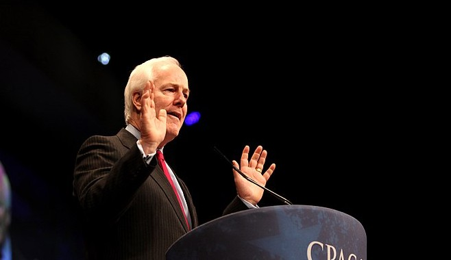 """""""Thanks for clarifying."""" Cornyn speaks during a past appearance at the conservative CPAC conference. - GAGE SKIDMORE / WIKIMEDIA COMMONS"""