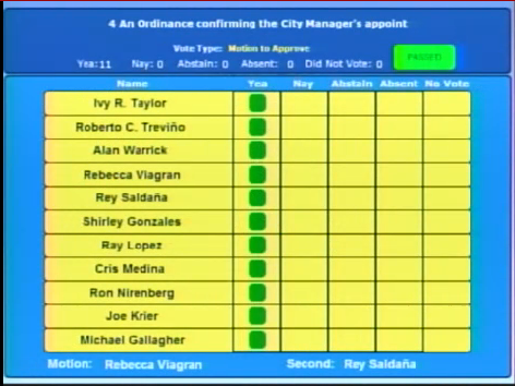 McManus' appointment was unanimously approved. - CITY OF SAN ANTONIO