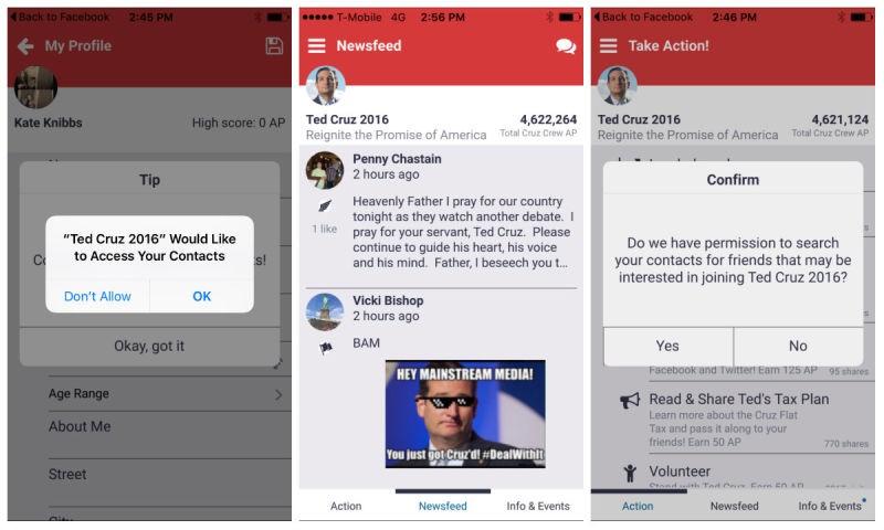 Srcreenshots of Ted Cruz's new app. - GIZOMODO
