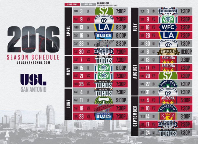 The full schedule for San Antonio's USL team. - VIA @USLSANANTONIO
