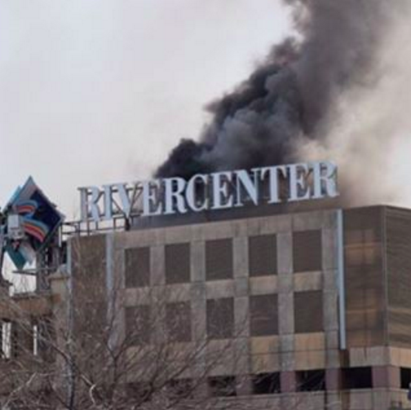 Smoke drifts over Rivercenter Mall. - VIA INSTAGRAM (MEXICANTRILL)