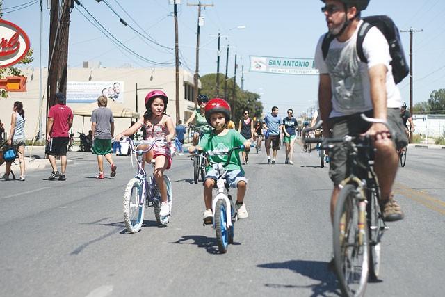 Young riders at Síclovía, Sunday, October 3, 2011.