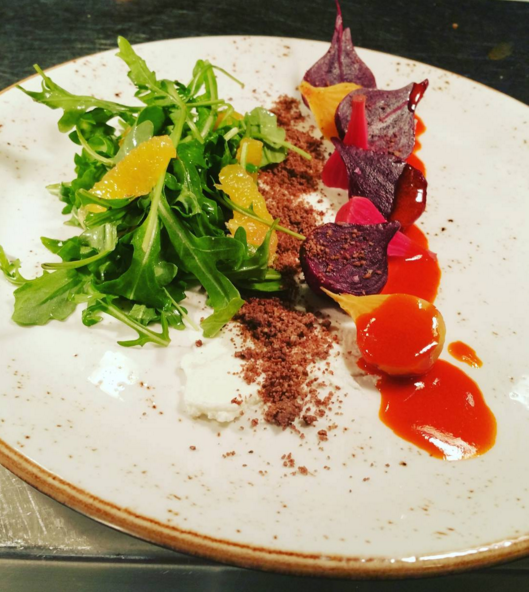 Chef Ashby Cowart's salad with local heirloom beets, Honey Doe Farm & Creamery goat cheese, Valley oranges, roasted fennel, almond soil and guajillo vinaigrette - INSTAGRAM/ASHBYCOWART/