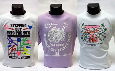 T-shirts from San Antonio in the Wearing Gay History online exhibit include: Stepping Out in the 90's-Gay Fiesta 1991; the Noo Zoo Co. Memorial Day Street Dance '85; and Out Is In – San Antonio Celebrates Pride Month June 1991.