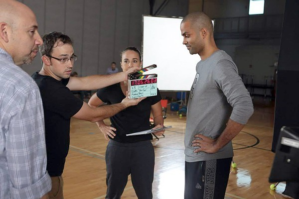 SA production company GeoMedia shoots an SWBC commercial with Spurs guard Tony Parker and assistant coach Becky Hammon. - COURTESY