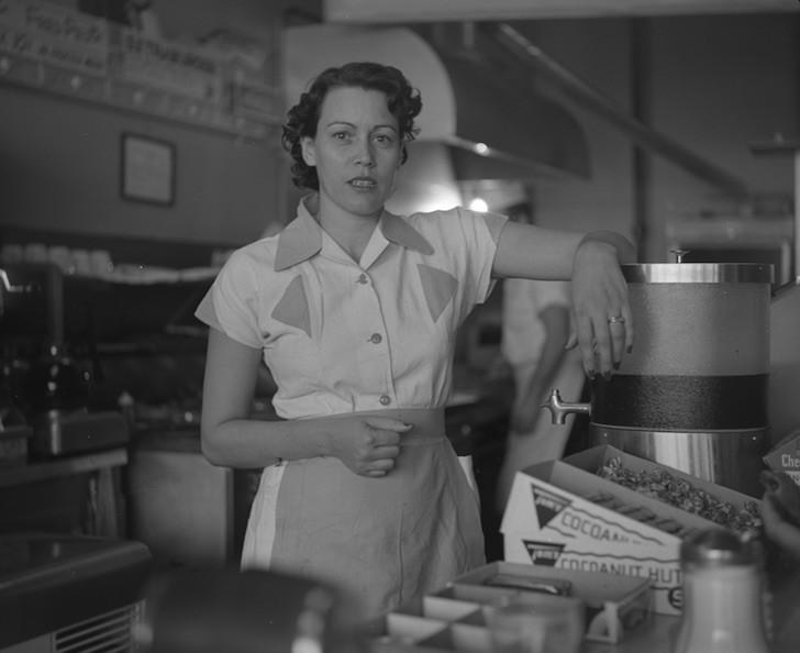 Waitress at Ernie's Hamburger Stand, Fort Worth, Texas, Byrd III, 1955