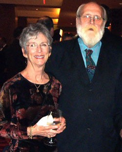 "ROBERT ""PAPA BEAR"" EDWARDS AT THE 2010 HRC GALA WITH SUSAN BRADLEY, FORMER VOLUNTEER COORDINATOR FOR SAAF. (PHOTO: SAM SANCHEZ FOR QSANANTONIO)"