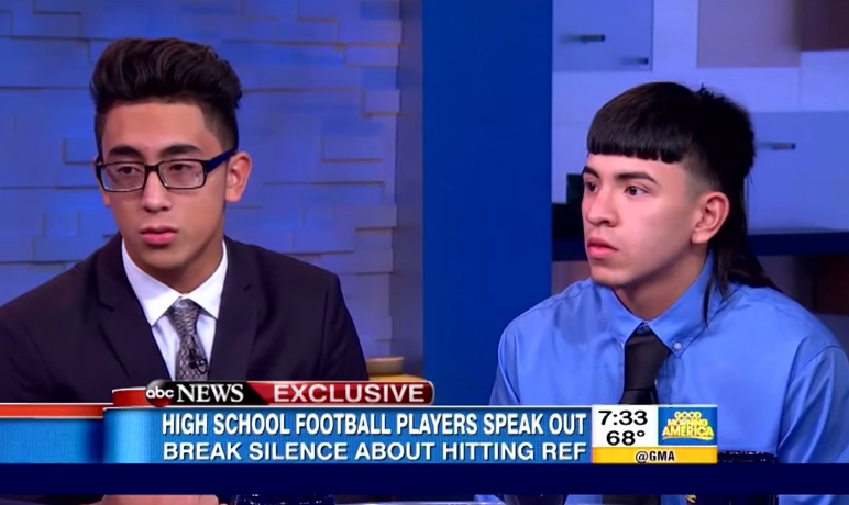 Michael Moreno and Victor Rojas on 'Good Morning America' shortly after the Sept. 2015 game. - SCREENSHOT, ABC NEWS