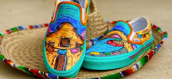 High school student Roger Zamarripa Jr. entered Vans' Custom Culture competition with a puro SA design. - FACEBOOK / ROGER ZAMARRIPA JR.