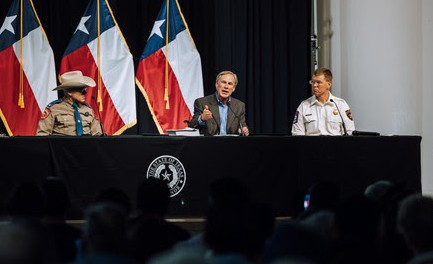 Gov. Greg Abbott speaks during a press conference in Del Rio announcing his plans for a border wall. - TEXAS GOVERNOR'S OFFICE