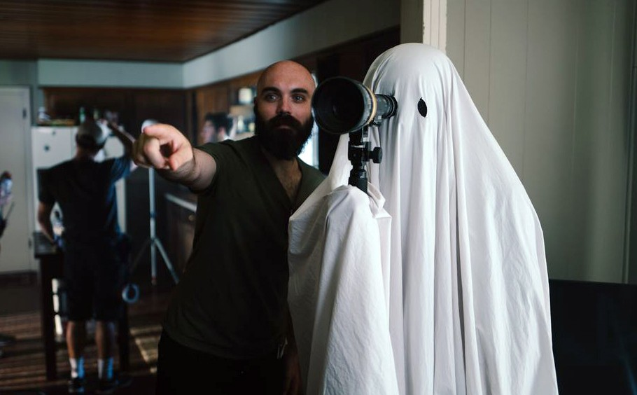 Filmmaker David Lowery on the set of A Ghost Story. - A24