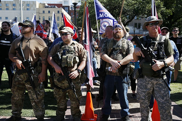 Members of 'This Is Texas Freedom Force' at their Saturday protest. - TOMAS GONZALEZ