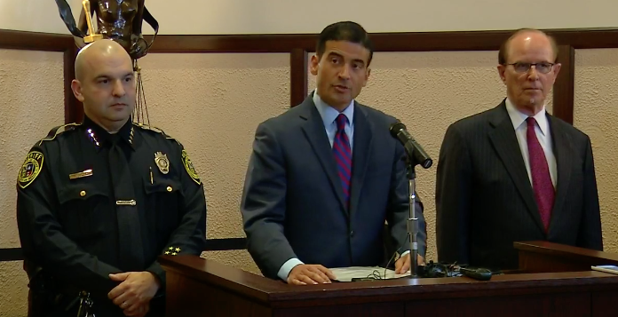 Bexar County Sheriff Javier Salazar, Bexar County Criminal District Attorney Nico LaHood, Bexar County Judge Nelson Wolff - FACEBOOK LIVE SCREENSHOT VIA NEWS 4 SAN ANTONIO