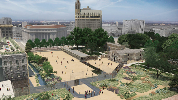 The original plan proposed for the Alamo Plaza's redesign. - TEXAS GENERAL LAND OFFICE