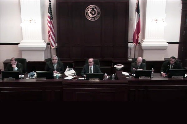 Bexar County Commissioners Court in session on Feb. 27. (Video capture)