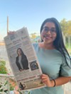 Justice Democrats-backed Jessica Cisneros shows off the Laredo Morning Times front page announcing her candidacy.