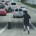 This Dude Seriously Ran After His Tire in the Middle of Traffic on a Houston Highway