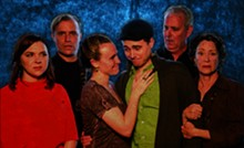 PHOTO BY SIGGI RAGNAR - Kimberlyn Gumm, John Stillwagon, McKenna Liesman, Mark McCarver, Gary Hoeffler and Kathy Couser star in The Playhouse's production of Tribes