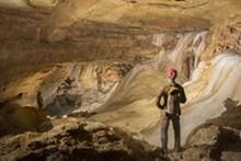 Cave Explorers in NEW giant room of cavern. - Uploaded by jfinney@naturalbridgecaverns.com
