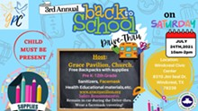 FREE Backpack Distribution with Supplies: Back-2-School Drive-Thru - Uploaded by Grace Pavilion Church