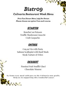 Culinaria - Restaurant Week Bistr09 Dinner Menu - Uploaded by Kim K
