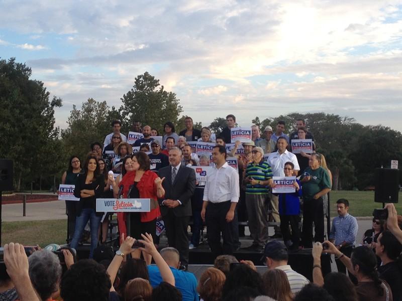 Eva Longoria, U.S. Rep. Joaquin Castro, and Henry R. Munoz III rallied with Sen. Leticia Van de Putte in San Antonio Wednesday night. - ALEXA GARCIA-DITTA