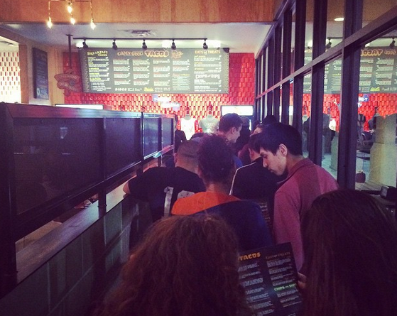Torchy's line was a little much for a Monday night. - @JESSELIZARRARAS/INSTAGRAM