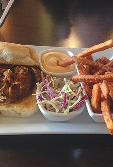 You'll want extra napkins for the juicy pulled pork sandwich