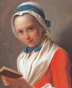 """Young Woman with Bonnet and White Shawl, Holding a Book, Known as """"The Virtuous Girl,"""" oil on canvas, by Pietro Antonio Rotari (1707–1762). Courtesy of Marei von Saher, heir to Jacques Goudstikker."""
